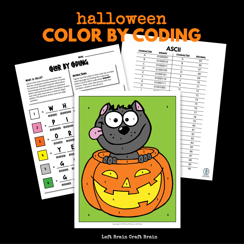 Kids will love the challenge of this Color by Coding Halloween Coloring Page that uses ASCII binary and decimal codes to decipher the colors in the page. It's a fun and easy STEM / STEAM activity for home and school Halloween parties.