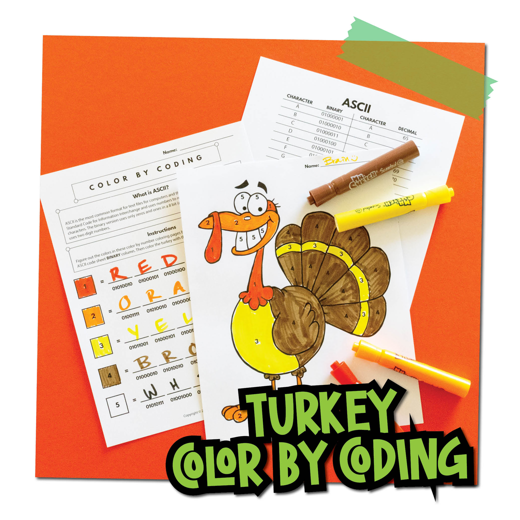 Turkey Color by Coding - Activity Pic