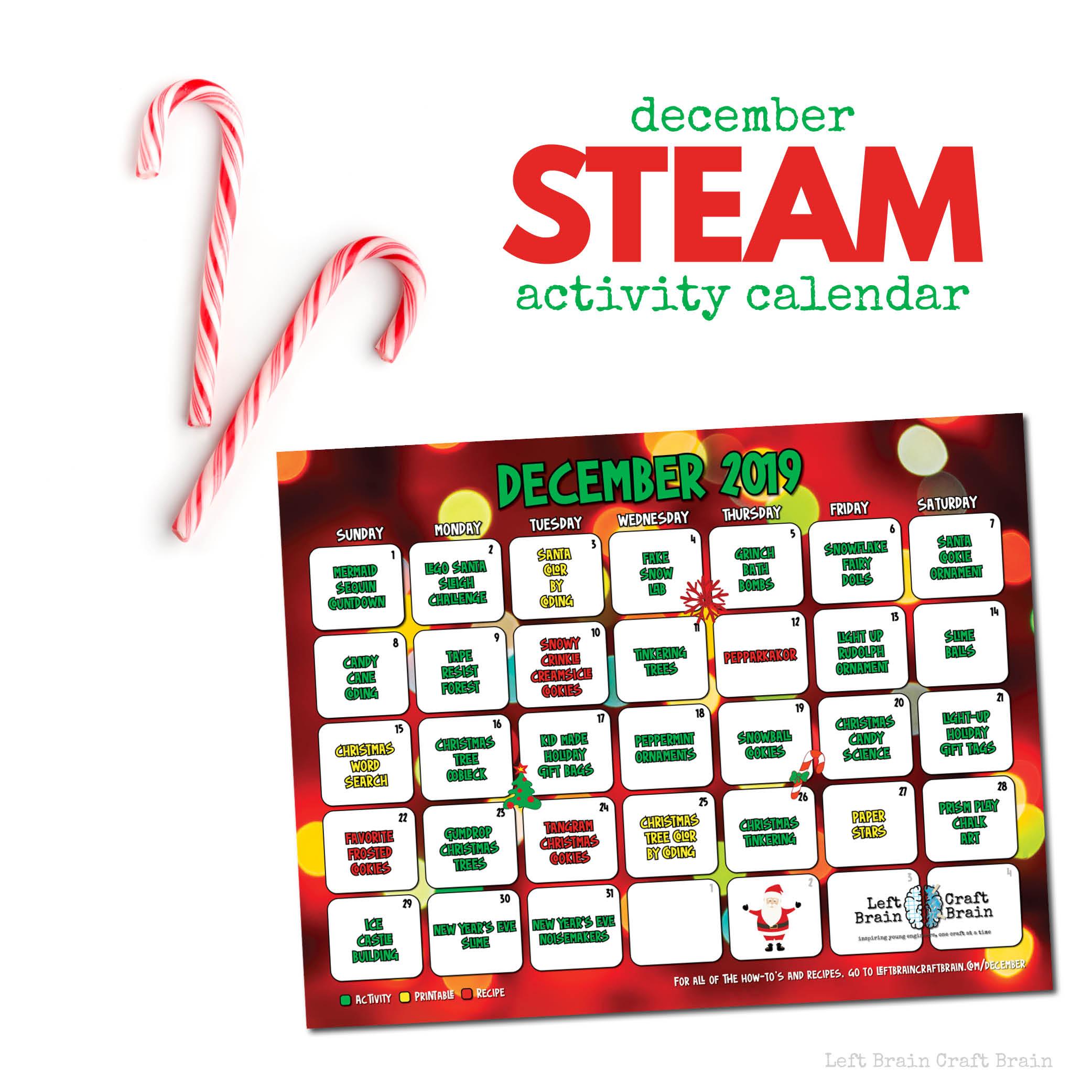 December STEAM Activity Calendar 1000x1000