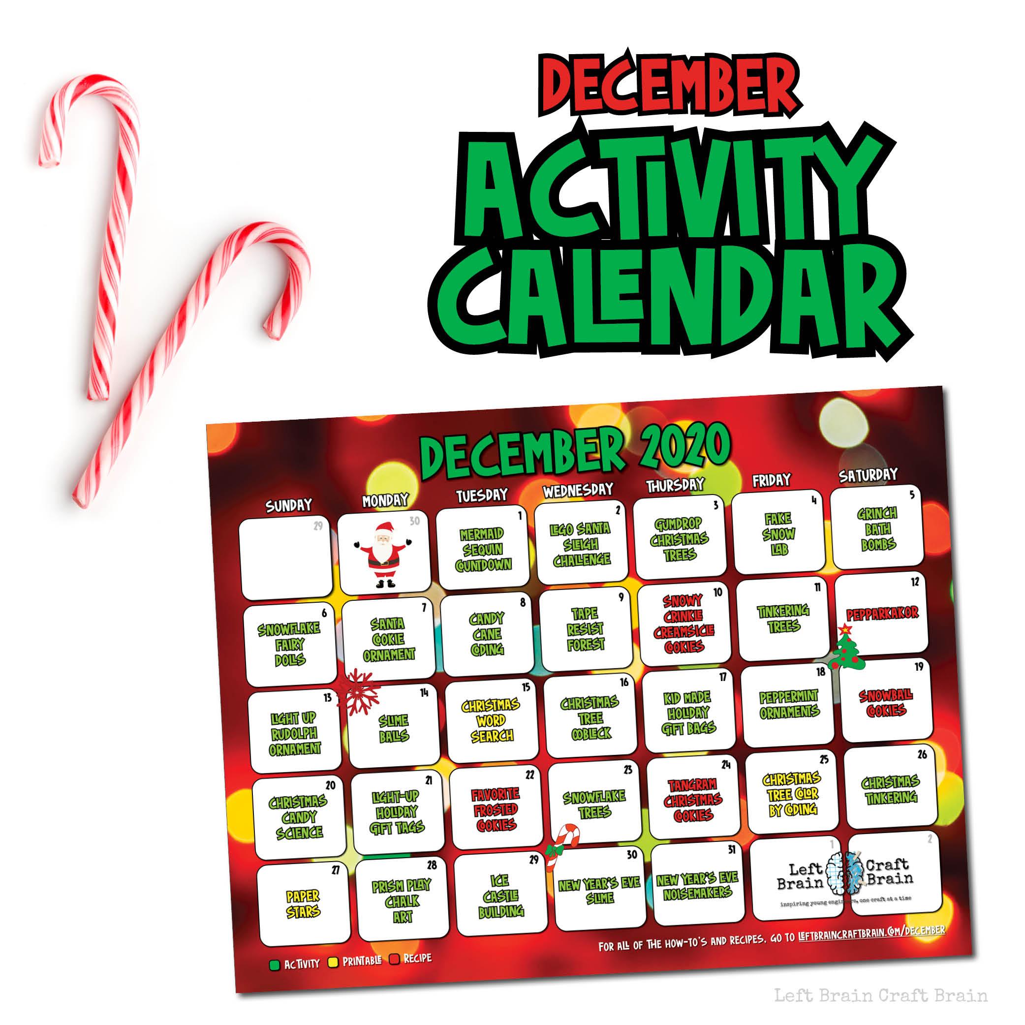 december activity calendar mockup 2020