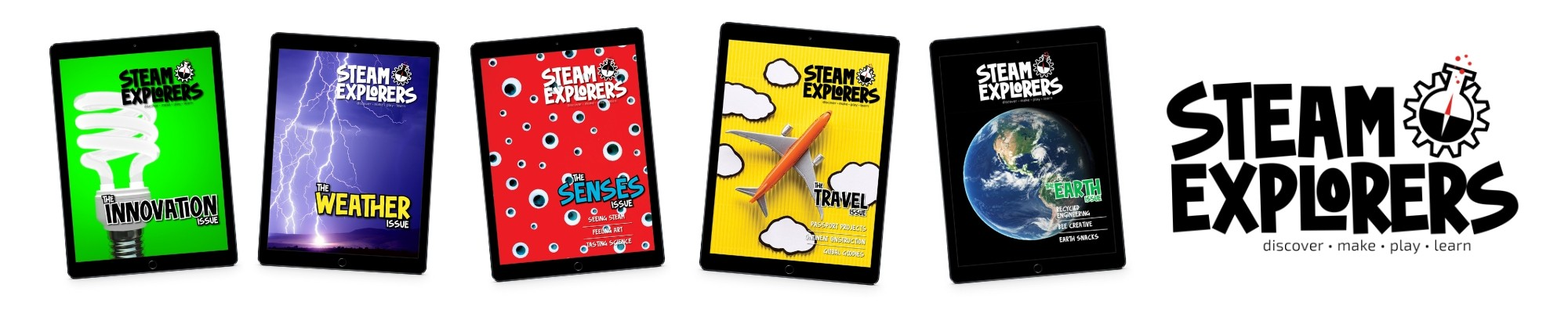 ipads with different STEAM Explorers issues, hands-on STEAM learning guides for kids