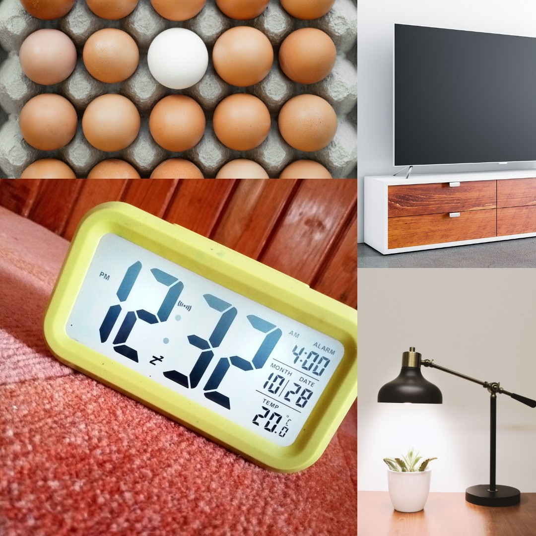 eggs, tv, alarm clock and lamp are all some of the answers in this at-home science scavenger hunt.
