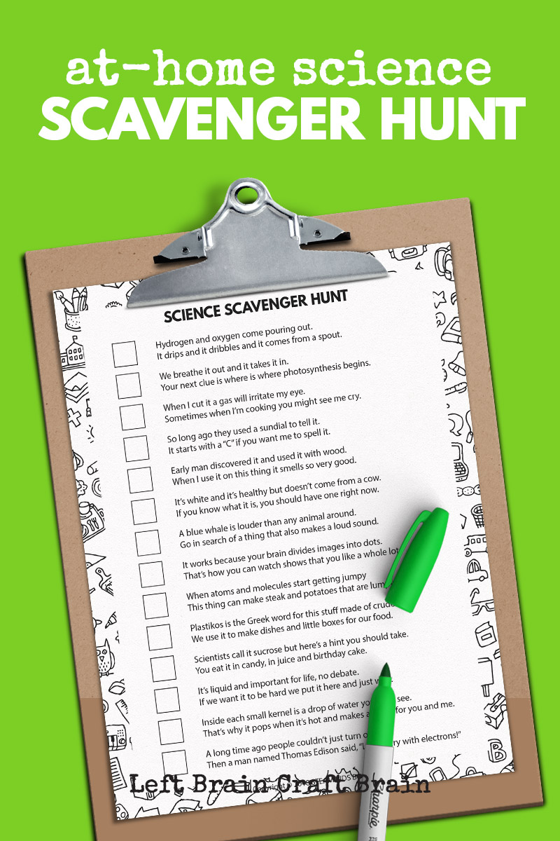 Kids will love solving the riddles and finding the household items in this At-Home Science Scavenger Hunt. It's perfect for homework or distance learning.