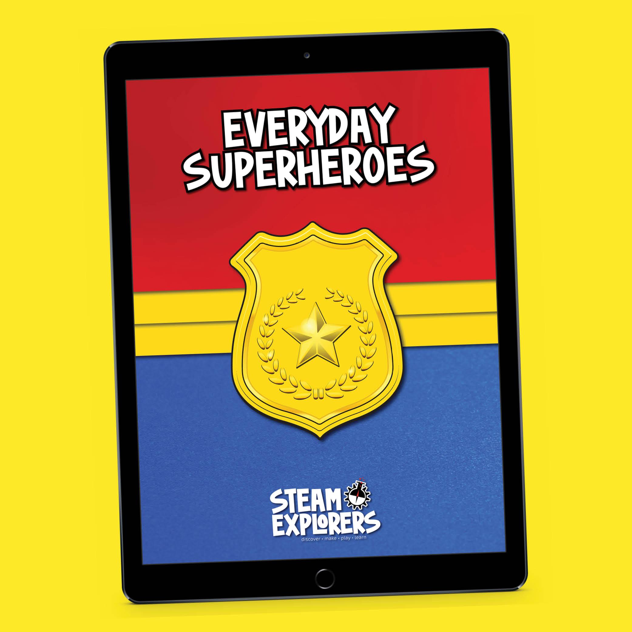everyday Superheroes ipad on angle yellow
