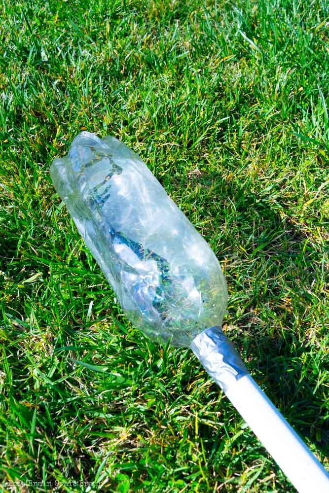Closeup of the diy stomp rocket launcher 2L bottle air bladder