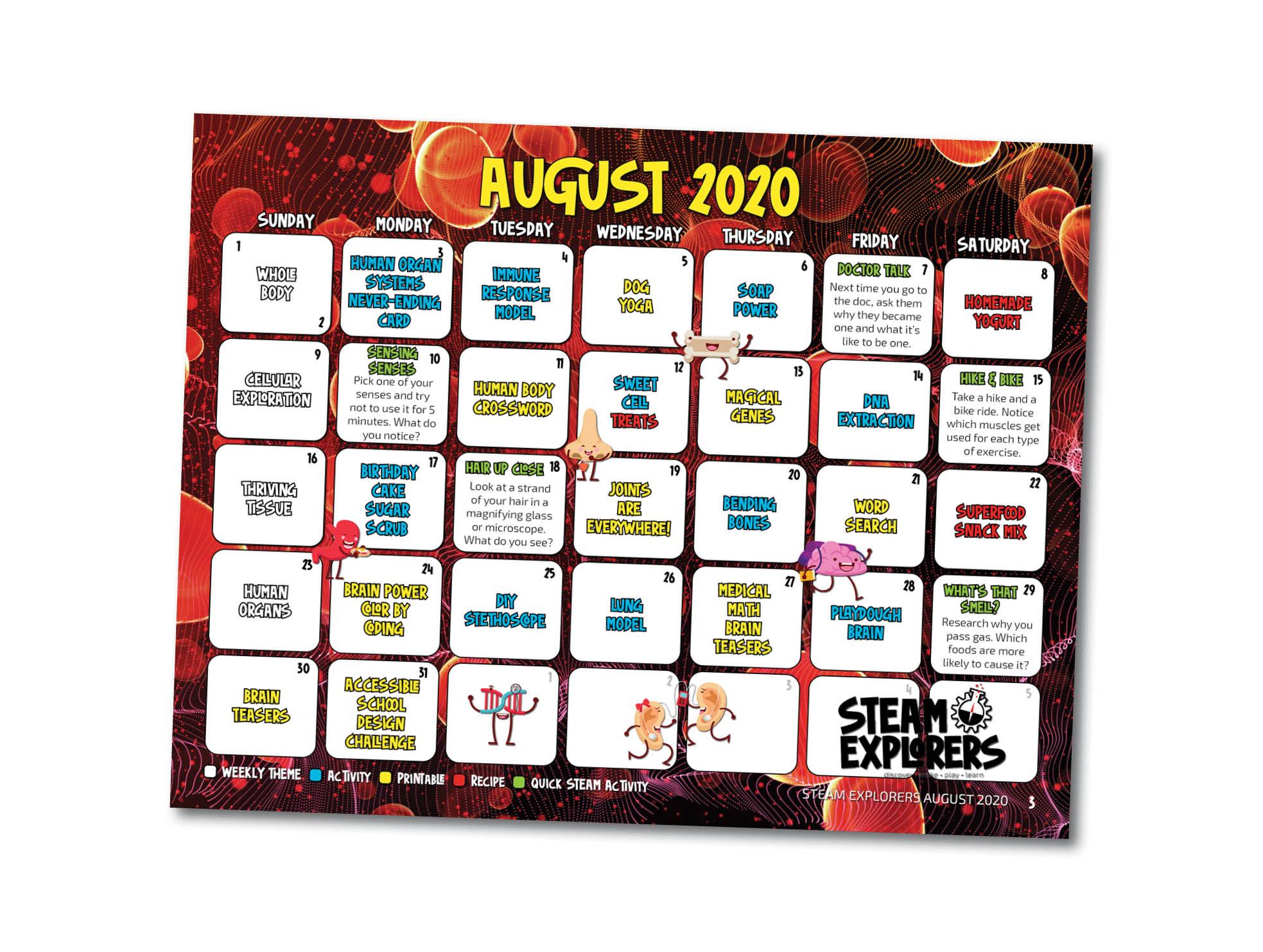 STEAM Explorers Calendar for Landing Page - Human Body v3