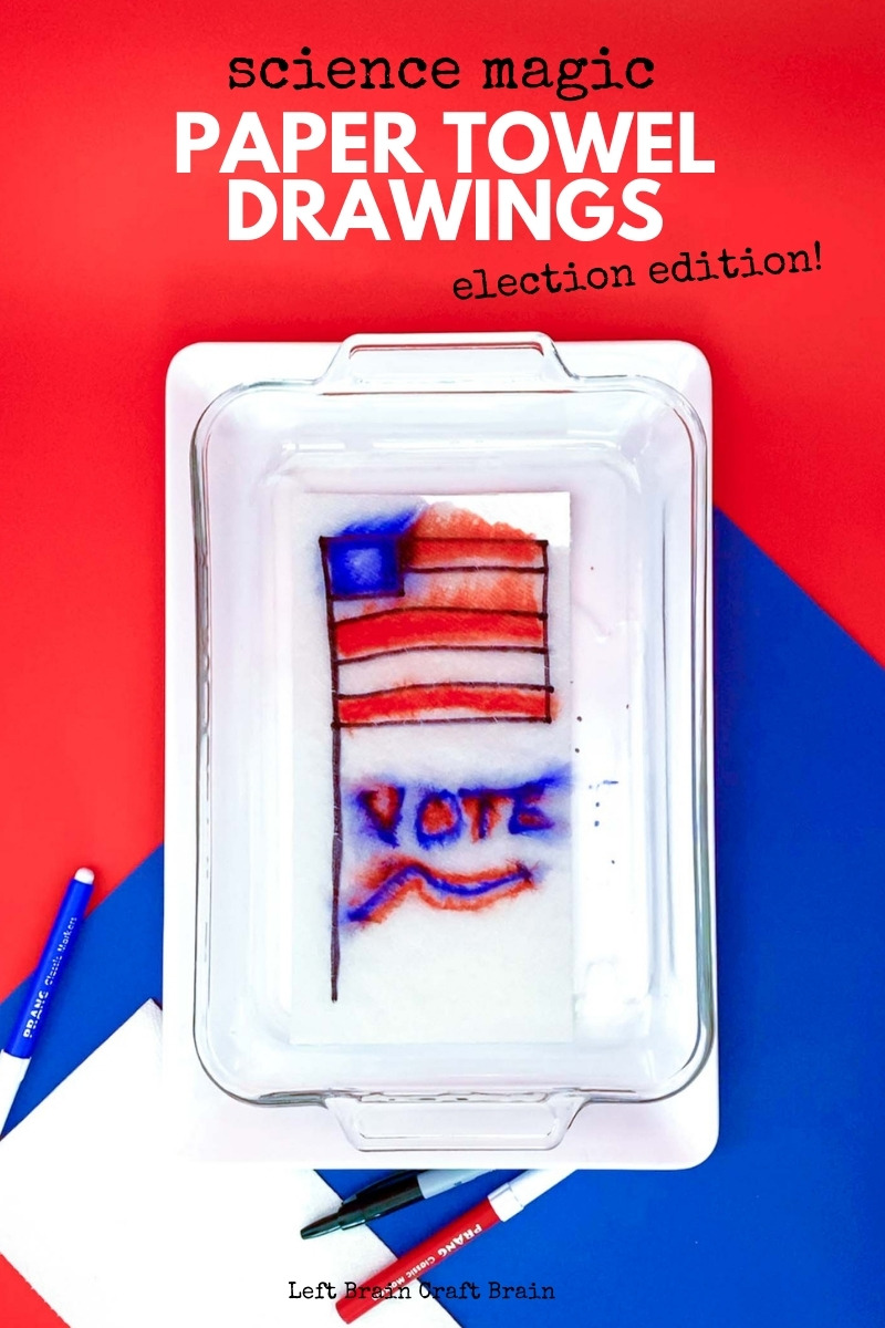 Make these paper towel drawings magically appear with science! This project is a quick and easy STEAM project that's fun for election day or any day!