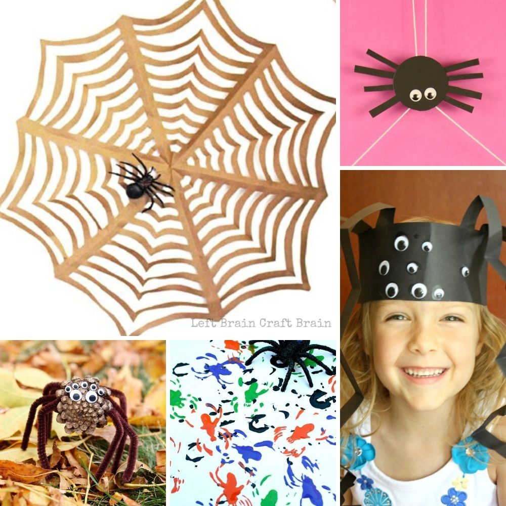 spider arts and crafts projects collage with paper spider web, spider toy, pine cone spider, spider painting, and spider head dress