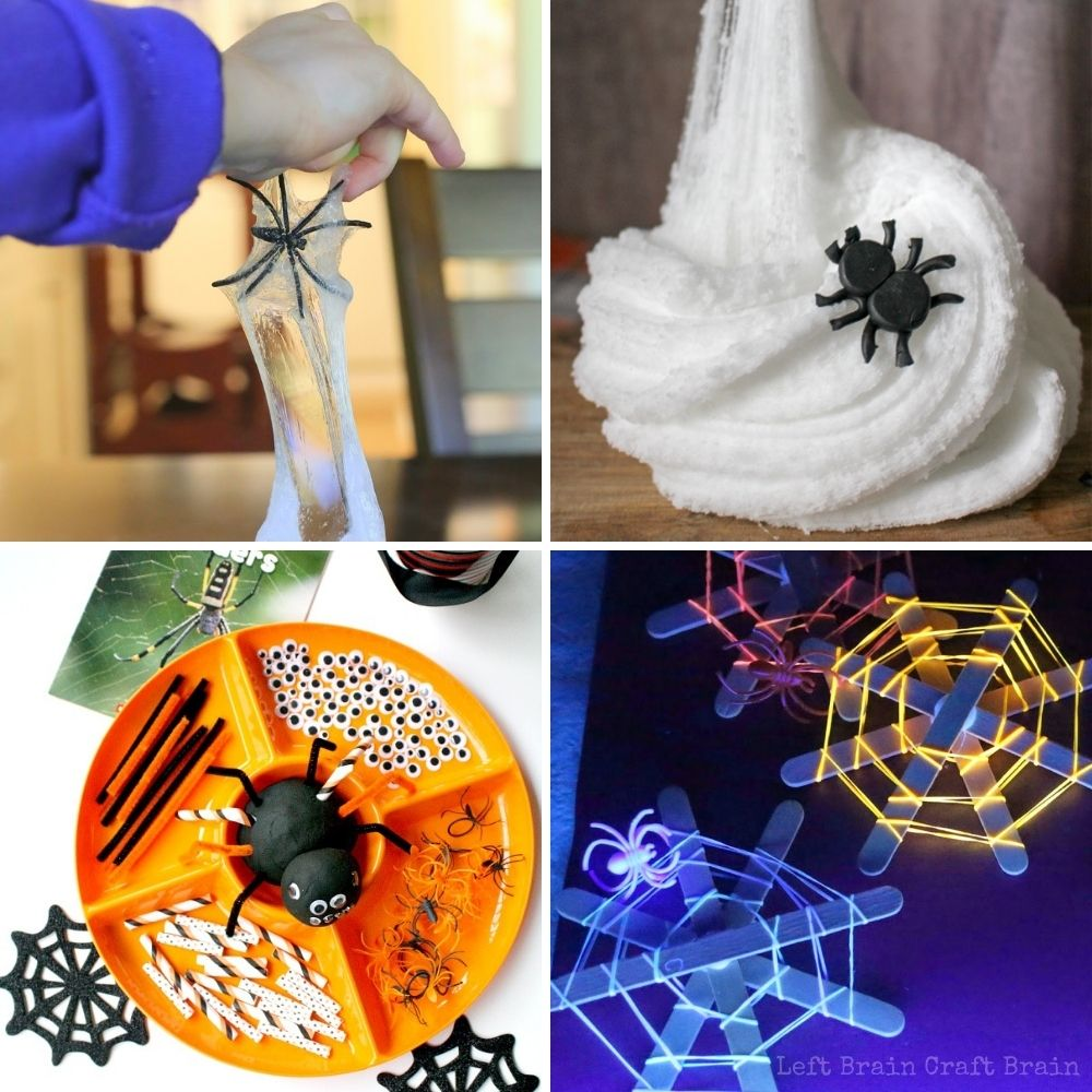 spider sensory play activities with two types of spider slime, spider playdough, glow in the dark spider webs