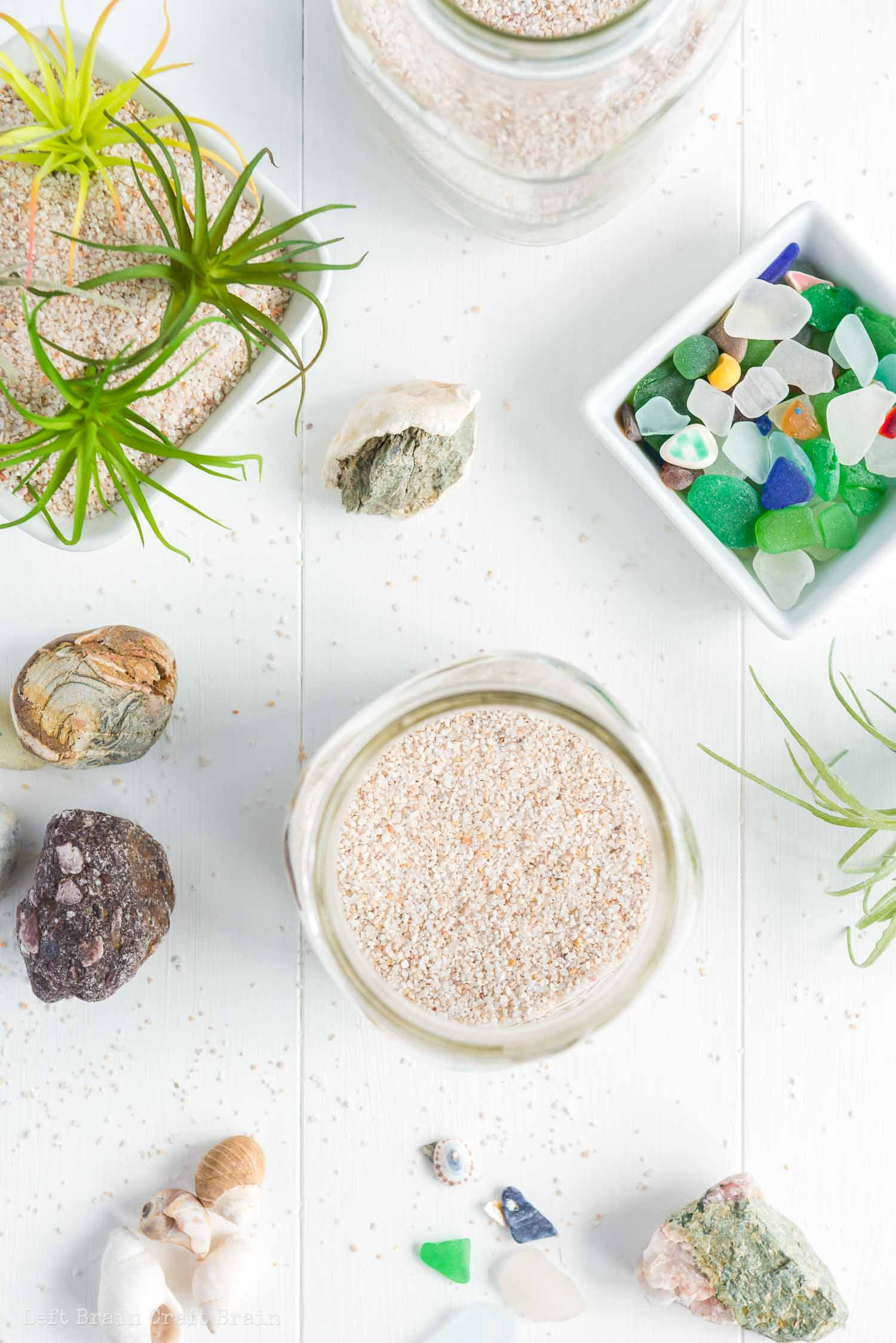 overhead of air plant terrarium process with sea glass and rocks