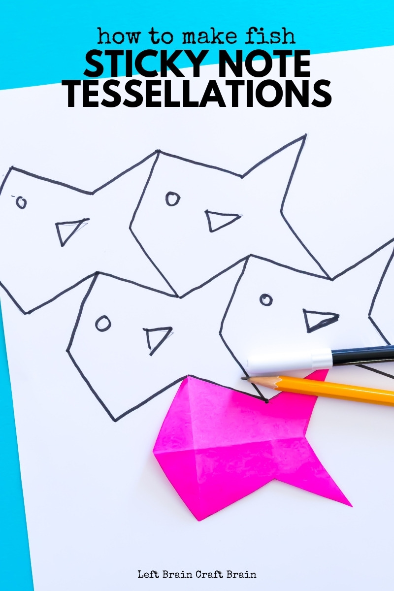 Sticky note fish tessellations art is fun to create are also a great way to learn math. This STEAM learning project is perfect for school or at home.