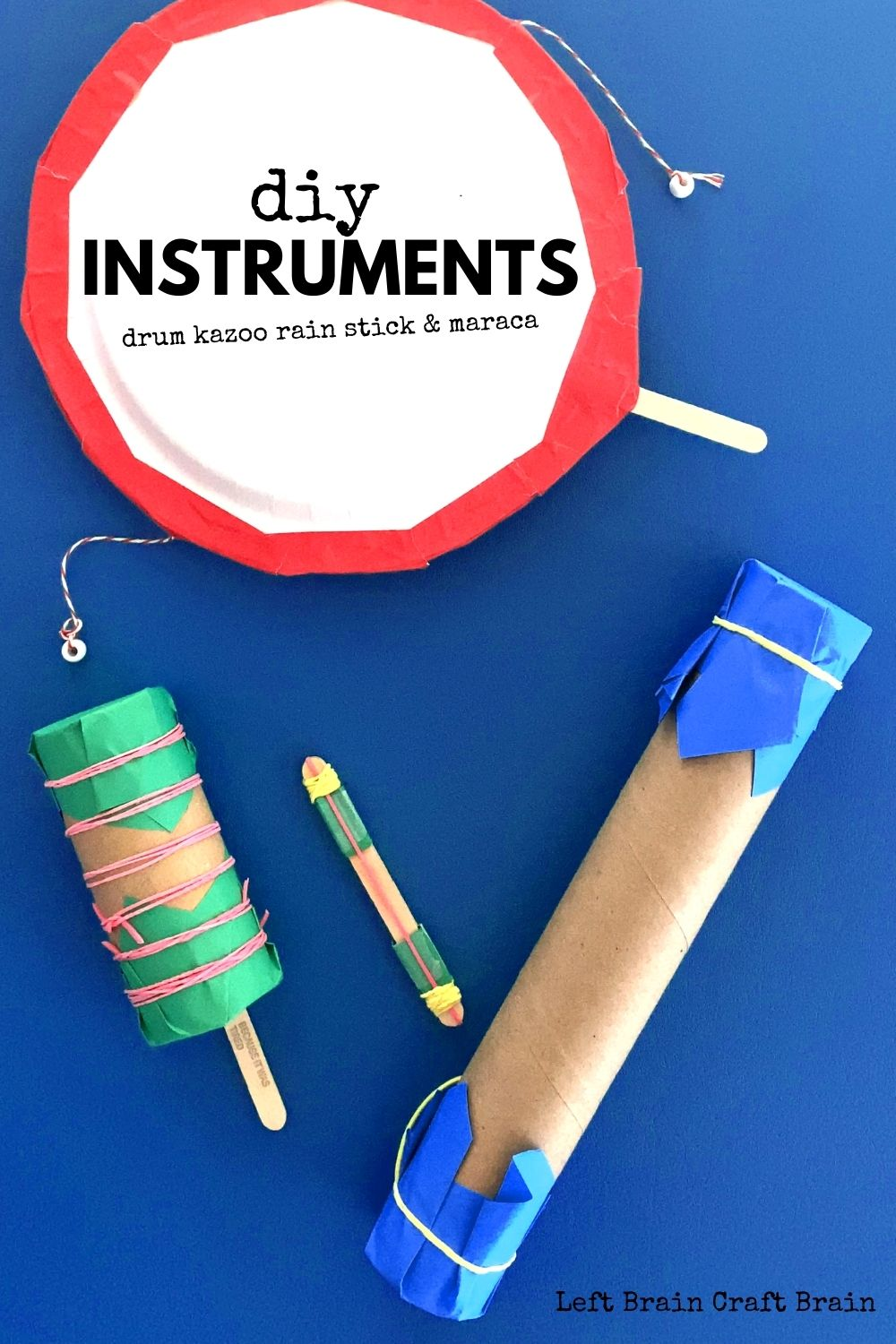Make fun DIY instruments with just a few craft supplies. Popsicle stick kazoos, paper plate drums, rain sticks, and maracas will keep the kids making music.