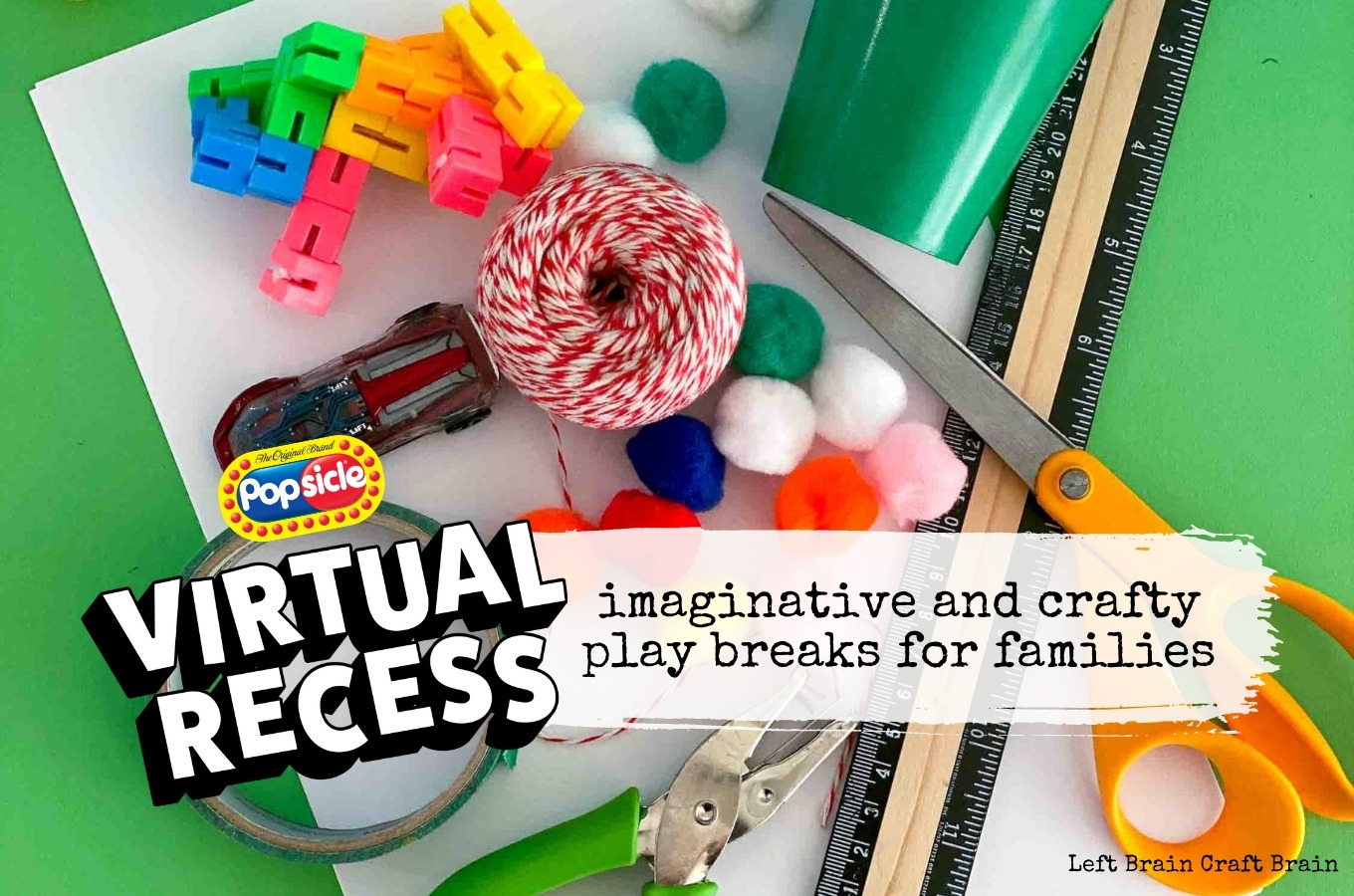Popsicle Virtual Recess craft supplies on green