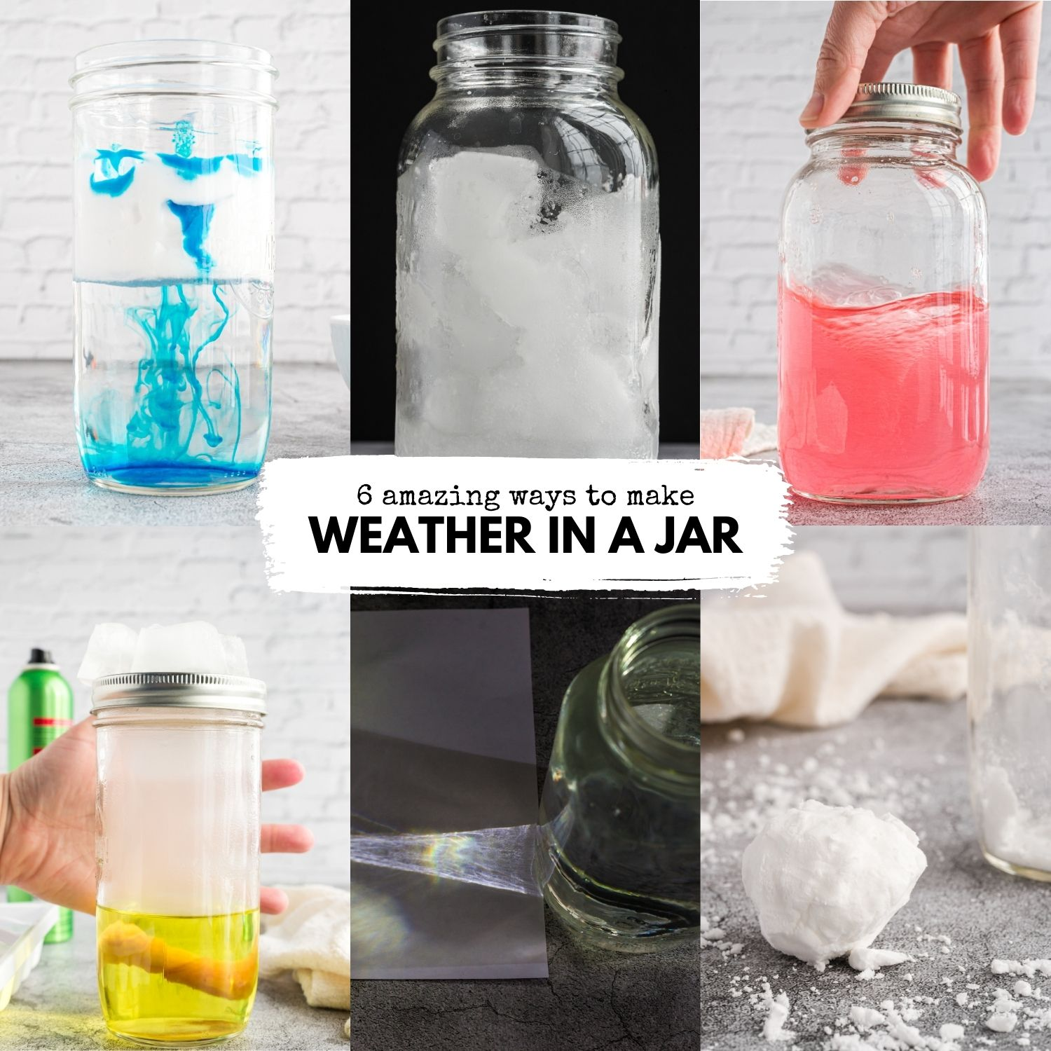 Kids will love these 6 amazing weather in a jar science experiments. Try rain in a jar, fake snow, make rainbows, clouds, tornadoes, and more!