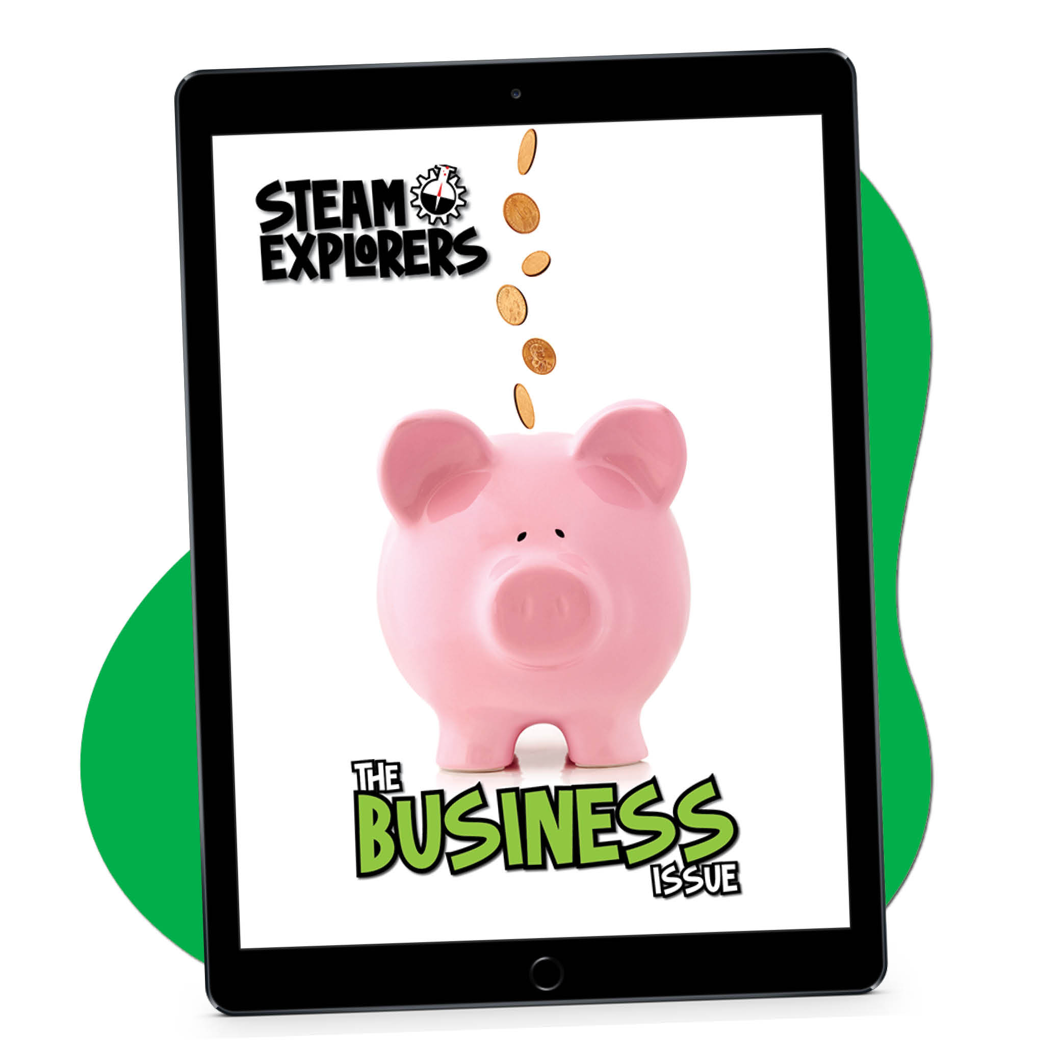STEAM Explorers Business Issue ipad with green