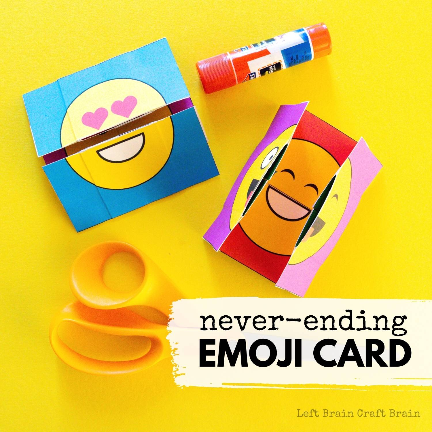 Make this fun never-ending emoji card for an entertaining paper craft activity that will get used long after you've made it. Makes a great gift, too!