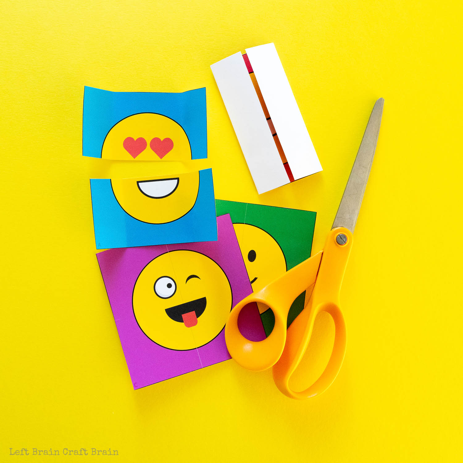 never-ending emoji card step 1 cut squares with scissors and start folding
