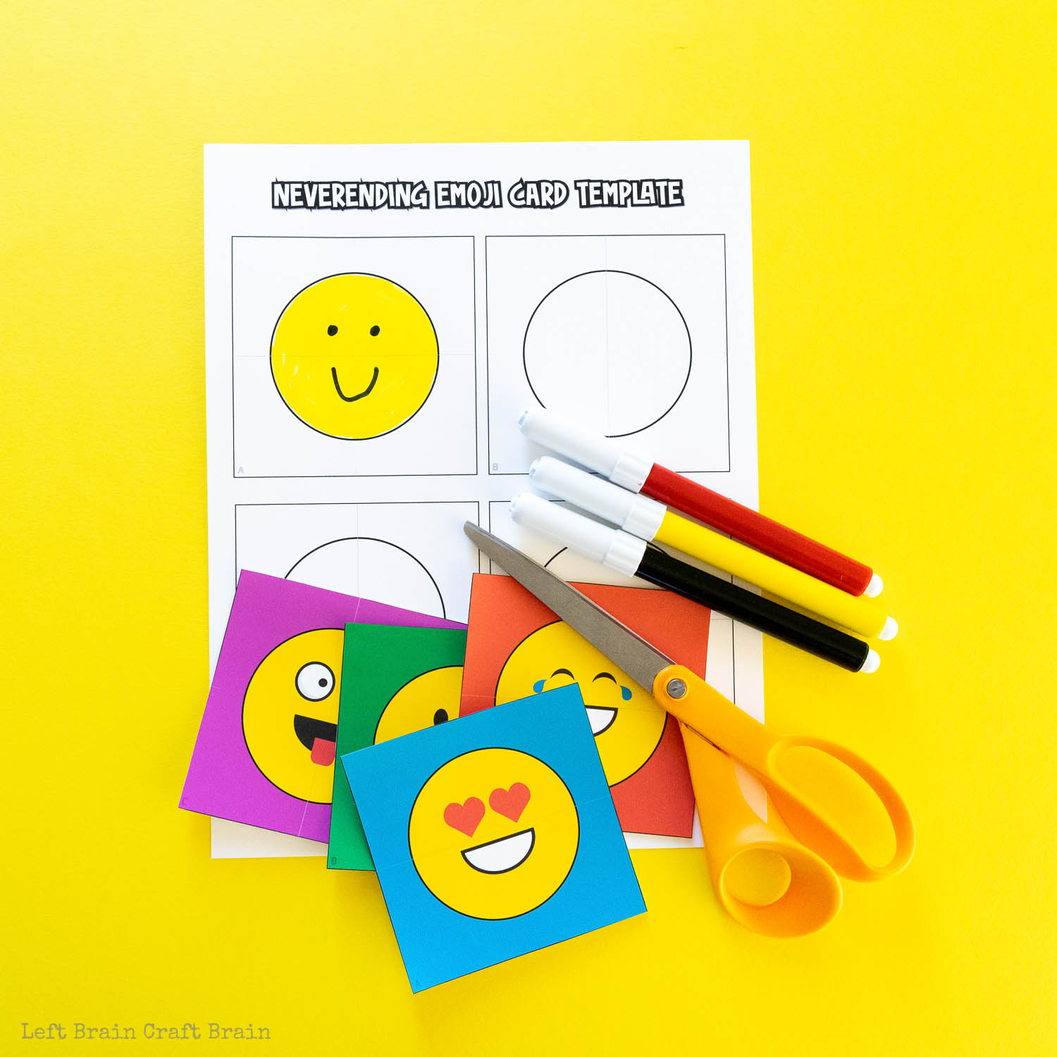 never-ending emoji card supplies markers template scissors