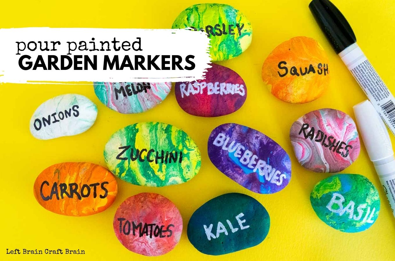 pour painted rock garden markers