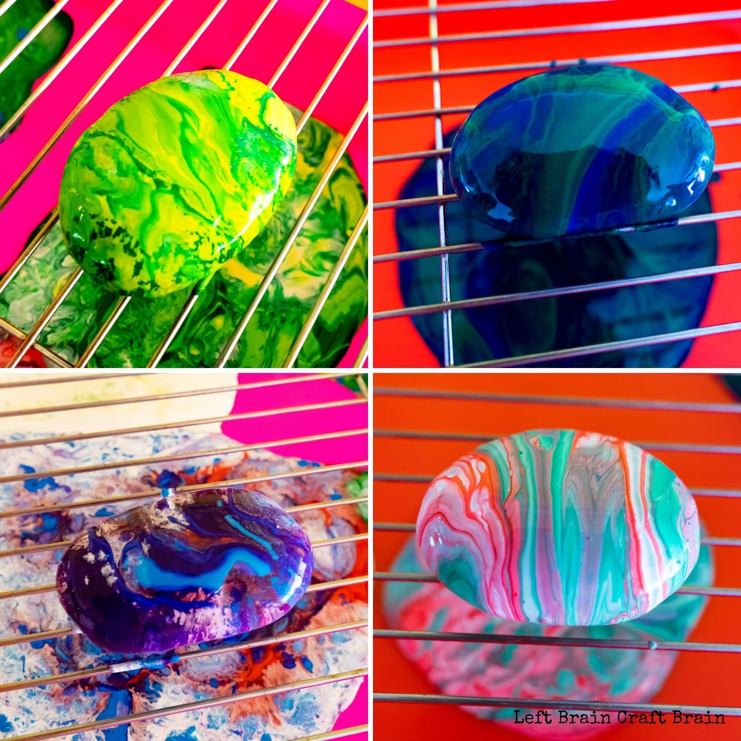 4 swirled pour painted rock garden markers one yellow and green, one blue and green, one white, blue, red, purple, one white, red and green