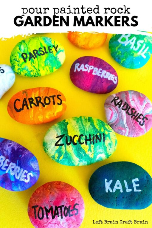 Keep track of what you plant with a fun art project! These diy pour painted rock garden markers add colorful creativity to your garden.