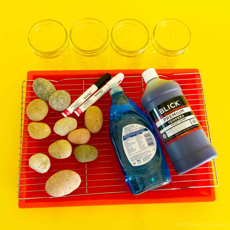 pour painted rock garden markers supplies rocks paint soap tray rack jars paint pens