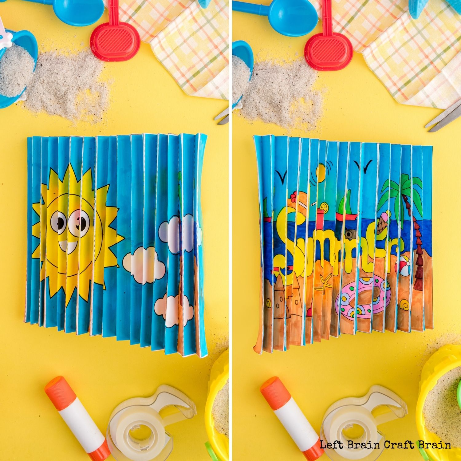 Side by side of both summer agamograph images on yellow with beach toys and sand. Have some fun coloring this summer with an agamograph, a unique paper craft. It flips the picture when you shift the angle for twice the fun.