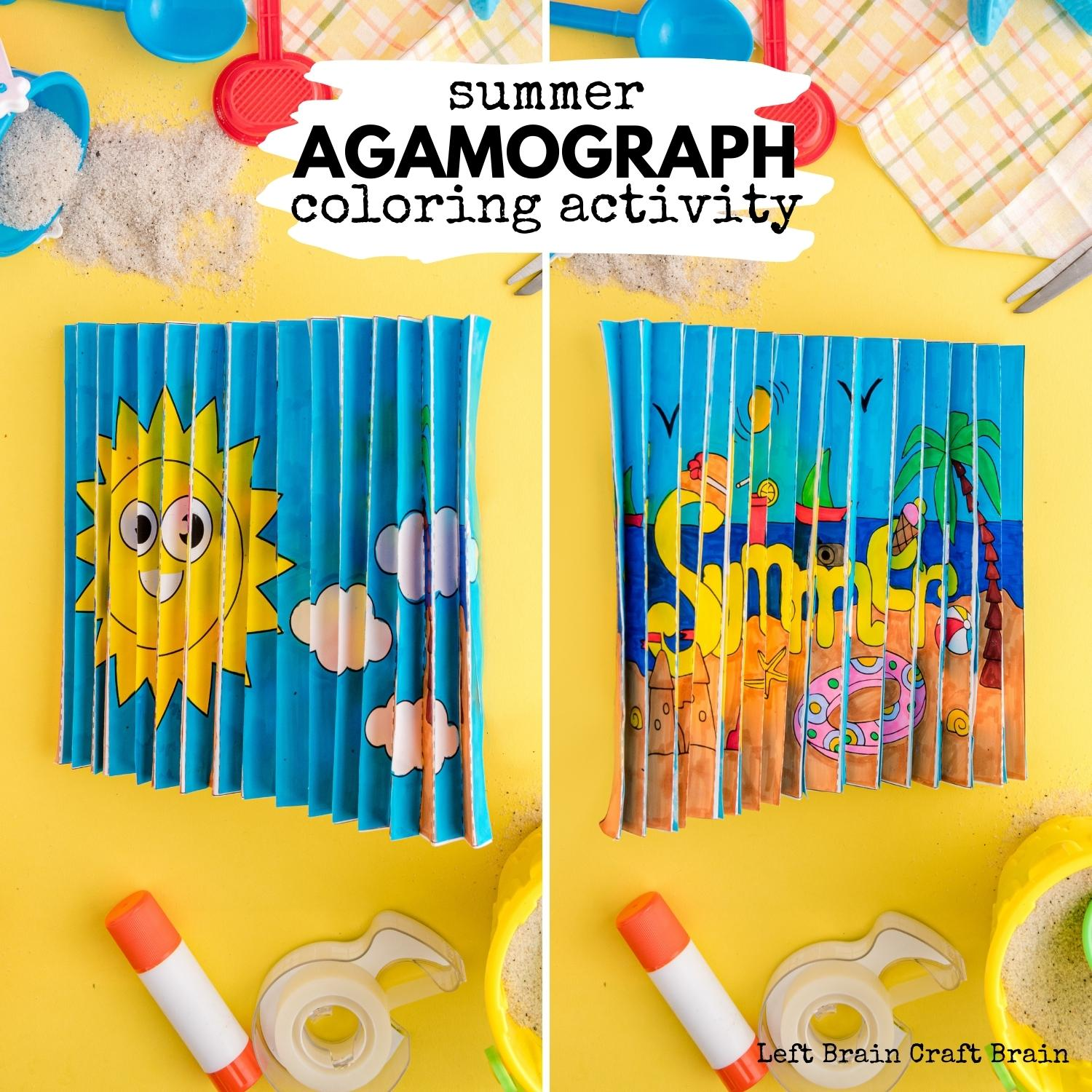 Summer Agamograph Coloring With Template Left Brain Craft Brain