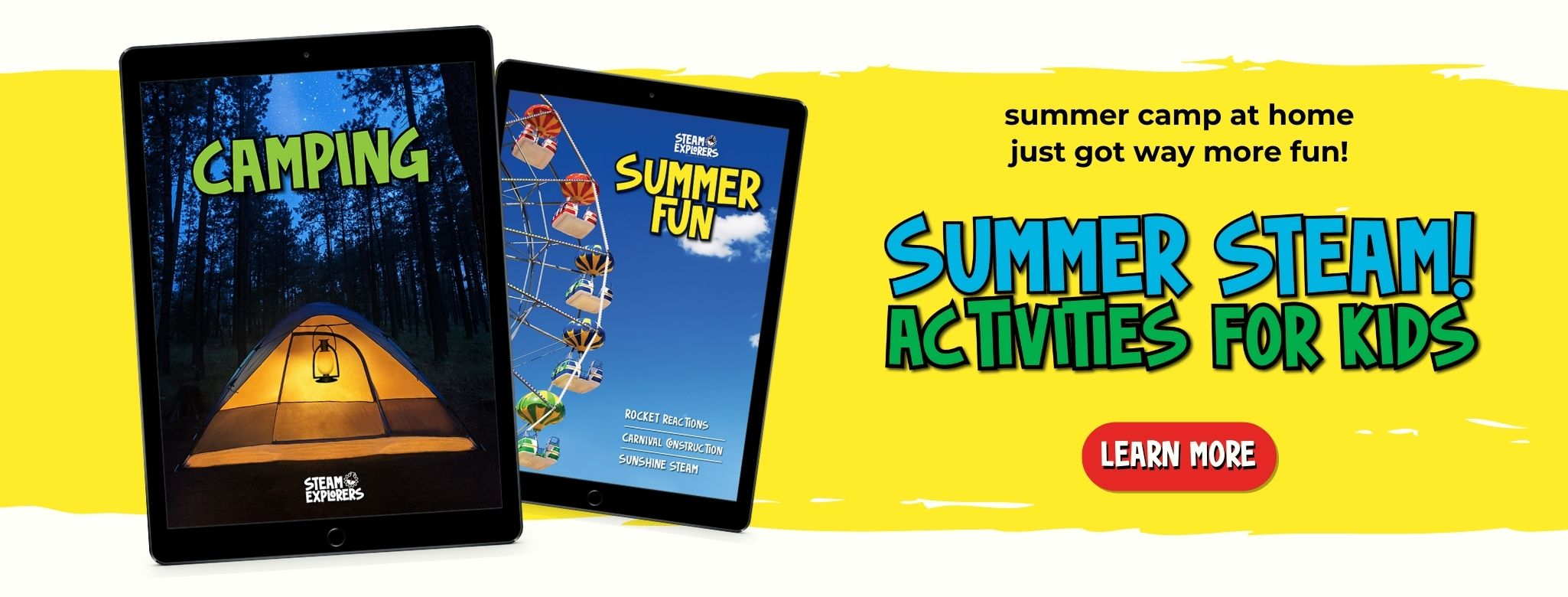 summer steam activities for kids camping and summer fun ebook ipads on yellow