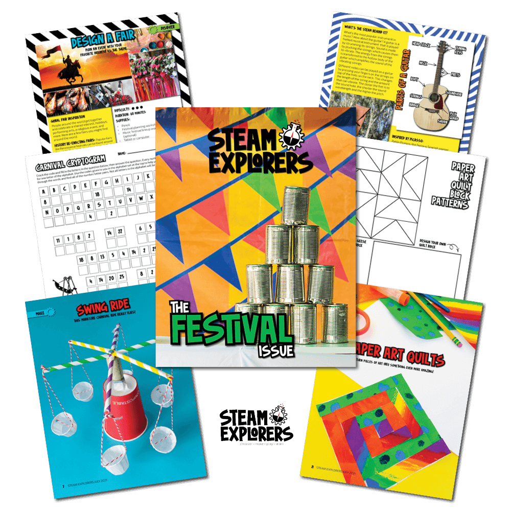 Festival themed activity pages from the STEAM Explorers Festival Issue