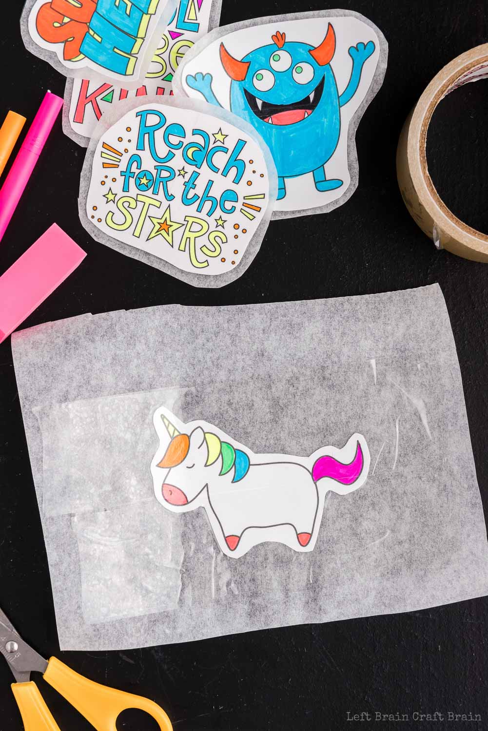 Unicorn on parchment covered with tape