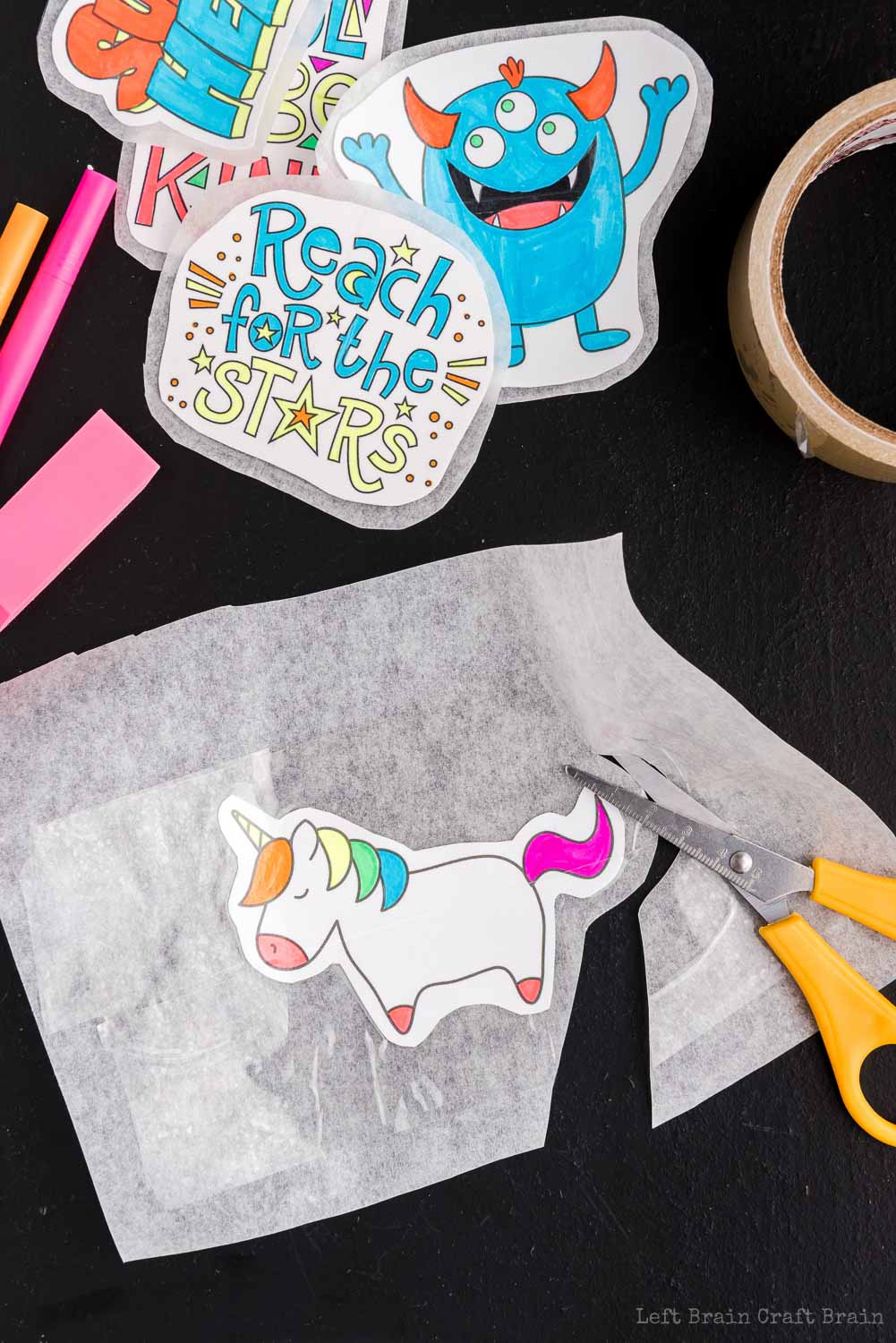cut out unicorn DIY sticker - Make your own DIY stickers with a super easy process using basic supplies. Kids will love this activity. They're fun to add to presents, too.