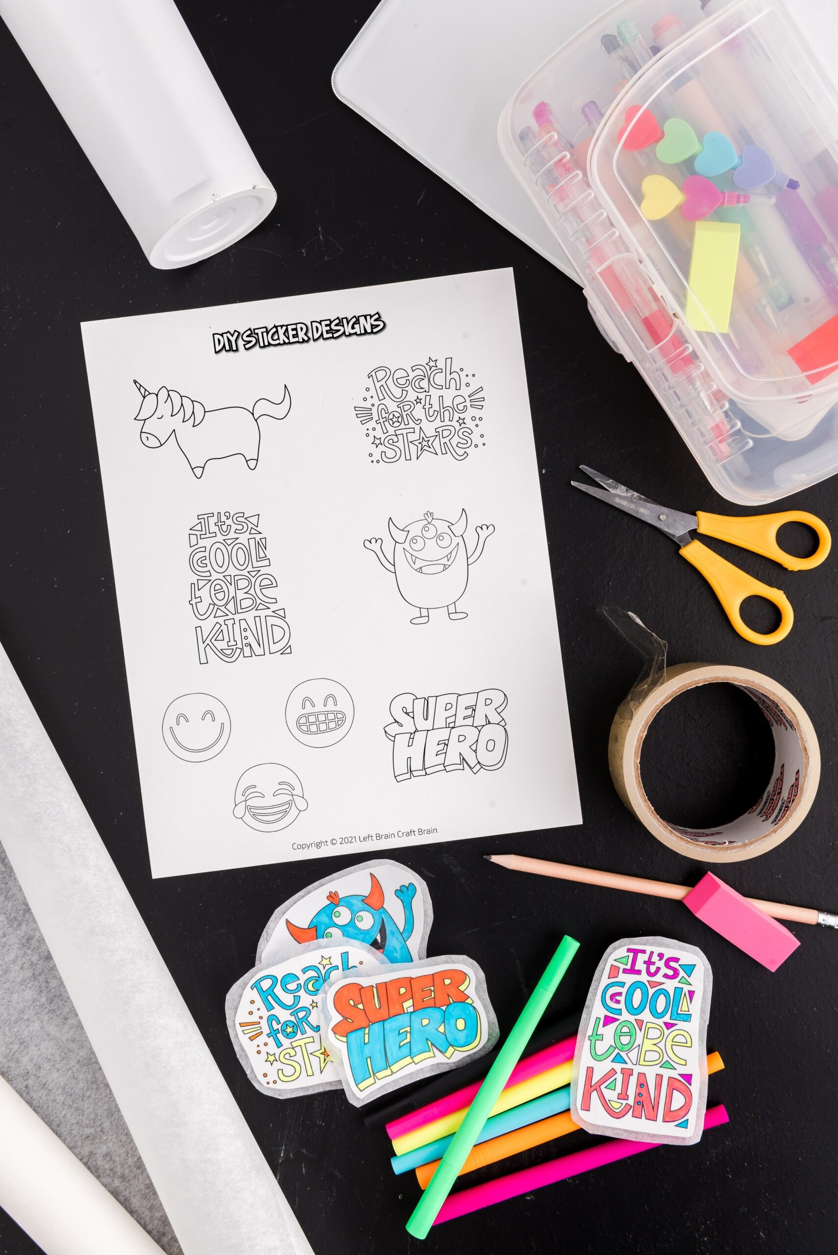 DIY stickers supplies scissors, printable template, tape, parchment paper Make your own DIY stickers with a super easy process using basic supplies. Kids will love this activity. They're fun to add to presents, too.