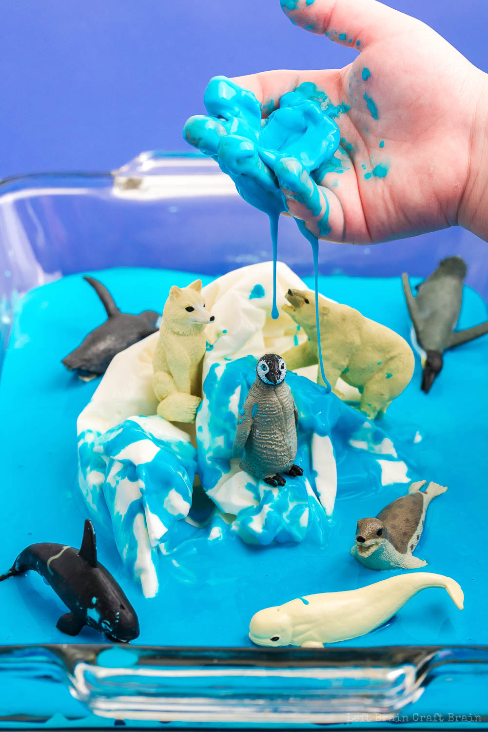 Turn a fun play session into science fun with frozen Polar Oobleck. The kids will learn about animal habitats, chemistry, and climate change.