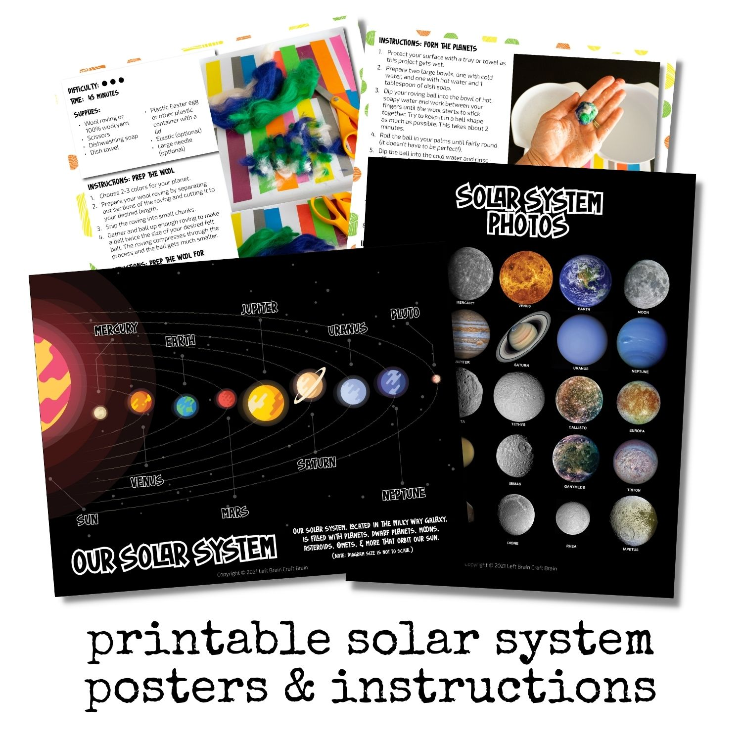Solar System posters and felted ball planets instructions